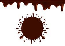 Het embleem van de melkchocolaplons, pictogram en smakelijke chocolademelk Stock Foto