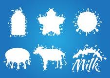 Het embleem van de melkplons, pictogram en Witte Melk ster, fles, koe, enz.-vorm Stock Foto