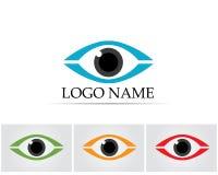 Het embleem van de oogzorg en van het symbolenmalplaatje vectorpictogrammen app royalty-vrije illustratie