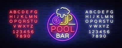 Het embleem van de poolbar in neonstijl Het ontwerpmalplaatje van het neonteken voor van het van het van de Biljartbar, club, bie Stock Foto's