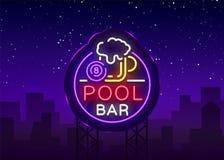 Het embleem van de poolbar in neonstijl Het ontwerpmalplaatje van het neonteken voor van het van het van de Biljartbar, club, bie Stock Fotografie