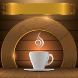 Het embleem van de premiekoffie Achtergrond voor koffiewinkel Royalty-vrije Stock Foto