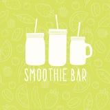 Het embleem van de Smoothiebar 3 verschillende metselaarkruiken Stock Fotografie
