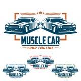 Het embleem van de spierauto, retro embleemstijl, uitstekend embleem Stock Afbeelding