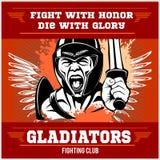 Het embleem van de strijdclub met gladiator Stock Afbeeldingen
