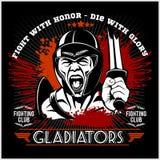 Het embleem van de strijdclub met gladiator Royalty-vrije Stock Afbeeldingen