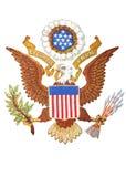 Het Embleem van de V.S. dat op Wit wordt geïsoleerdi Royalty-vrije Stock Afbeeldingen