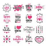 Het embleem van de valentijnskaartendag met typografiegelukwensen wordt op witte achtergrond worden geïsoleerd geplaatst die Stock Afbeelding