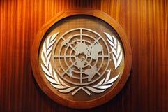 Het embleem van de Verenigde Naties Stock Foto