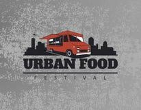 Het embleem van de voedselvrachtwagen op grunge grijze achtergrond Stedelijk, straatvoedsel Stock Afbeelding