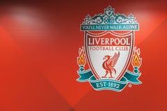 Het embleem van de de voetbalclub van Liverpool stock fotografie