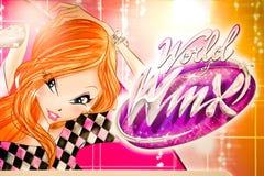 Het embleem van de Winxclub op banner wordt gedrukt die De Winxclub is een Italiaanse geanimeerde televisiereeks royalty-vrije stock afbeeldingen