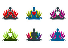 Het embleem van de yogameditatie Stock Foto's