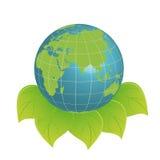Het embleem van Eco - schone aarde Stock Afbeeldingen