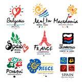 Het embleem van Europa Embleem voor reisbureaus Reis, vakantie in Europa, pictogram, symbool vector illustratie