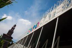 Het embleem van Expo Milaan 2015 in Milaan, Italië Royalty-vrije Stock Fotografie