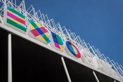 Het embleem van Expo Milaan 2015 in Milaan, Italië Stock Afbeeldingen
