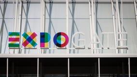 Het embleem van Expo Milaan 2015 in Milaan, Italië Royalty-vrije Stock Afbeelding