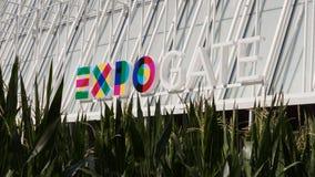 Het embleem van Expo Milaan 2015 in Milaan, Italië Stock Afbeelding