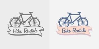 Het embleem van fietshuren, symbool of het malplaatje van het etiketontwerp Royalty-vrije Stock Foto