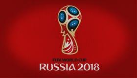Het embleem van FIFA Rusland 2018 over rode vlag royalty-vrije stock afbeeldingen