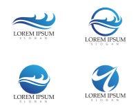Het embleem van het golvenstrand en van het symbolenmalplaatje pictogrammen app Royalty-vrije Stock Foto