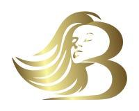 Het embleem van het het haarpictogram van het meisjesb monogram Stock Illustratie