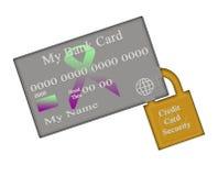 Het Embleem van het Concept van het Slot van de Veiligheid van de Kaart van het Debet van het krediet Stock Foto's