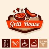 Het embleem van het grillhuis Stock Afbeeldingen