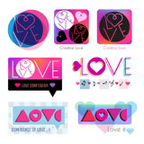 Het embleem van het hartpictogram liefdeembleem De dagembleem van Valentine Royalty-vrije Stock Fotografie