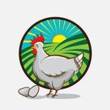 Het embleem van het kippenlandbouwbedrijf Vector illustratie Royalty-vrije Stock Afbeelding