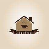 Het embleem van het koffiehuis stock afbeeldingen