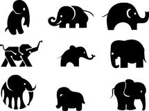 Het embleem van het olifantssilhouet Royalty-vrije Stock Foto's
