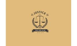 Het embleem van het rechtvaardigheidspictogram Stock Afbeeldingen