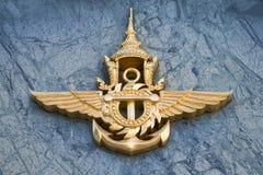 Het embleem van het Thaise strijdkrachtenclose-up Fragment van het ontwerp van de bouw van het Ministerie van Defensie, Bangkok,  Stock Foto's