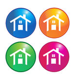 Het embleem van huizenpictogrammen Stock Foto's