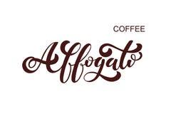 Het embleem van koffieaffogato Types van koffie Stock Illustratie