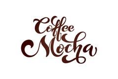 Het embleem van koffiemocha Types van koffie Vector Illustratie