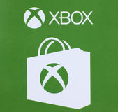 Het embleem van Microsoft Xbox op een document wordt gedrukt dat Royalty-vrije Stock Foto's