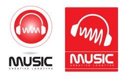 Het embleem van muziekhoofdtelefoons Royalty-vrije Stock Foto's