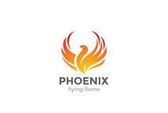 Het Embleem van Phoenix het vliegen de vector van het vogelontwerp Stock Foto