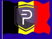 Het embleem van het Pivxmuntstuk op de vlag van België stock fotografie