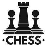 Het embleem van het schaakspel, eenvoudige stijl royalty-vrije illustratie