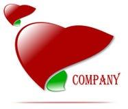 Het embleem van het tekeningsbedrijf van gezondheid en liefde, geneeskunde vector illustratie