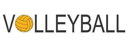 Het embleem van het tekstvolleyball met gele bal royalty-vrije stock foto