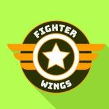 Het embleem van vechtersvleugels, vlakke stijl vector illustratie