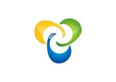 Het Embleem van verbindingsbusinness, de abstracte vector van het netwerkontwerp, wolk logotype, Sociaal Team, illustratie, Groep Stock Fotografie