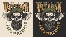 Het embleem van het veteraanconcept royalty-vrije illustratie