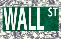 Het embleem van Wall Street op ons dollars Royalty-vrije Stock Afbeeldingen