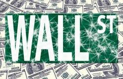 Het embleem van Wall Street op ons dollars Stock Foto's